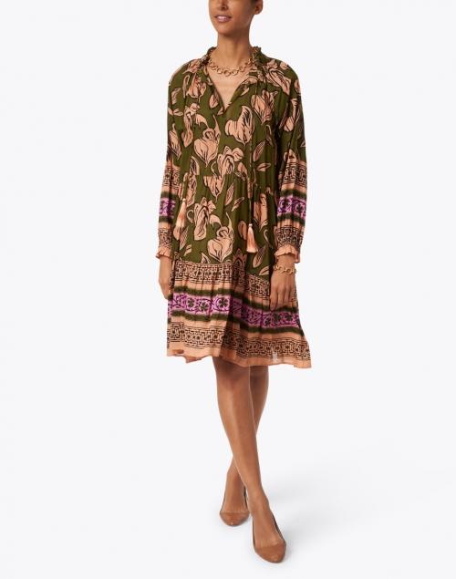 Roller Rabbit - Janni Olive Green and Orange Floral Ebha Print Dress
