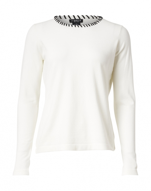J'Envie Ivory Knit Sweater with Whipstitch Trim