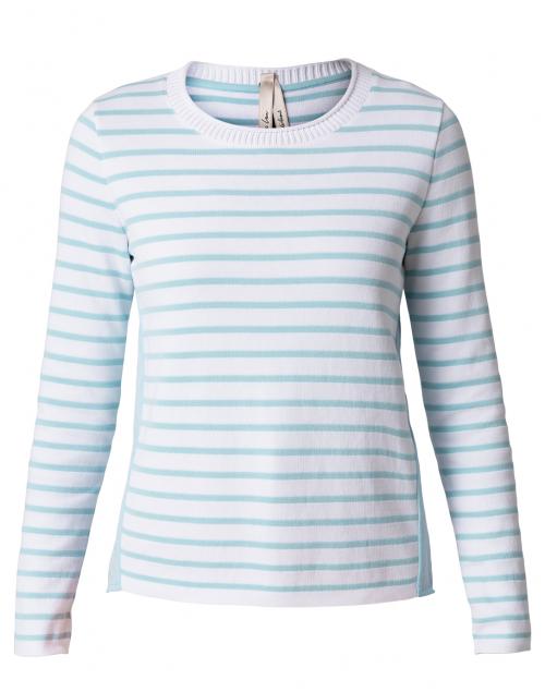 Marc Cain Light Aqua and White Striped Cotton Sweater