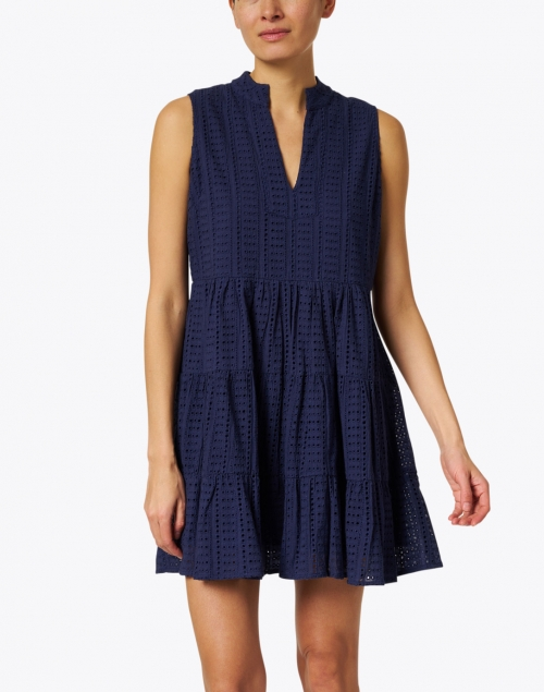 Sail to Sable - Navy Cotton Eyelet Dress