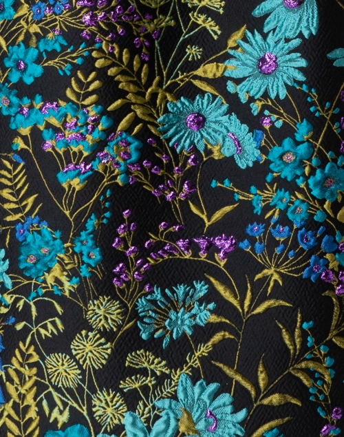 Sara Roka - Fumiko Teal and Black Jacquard Dress