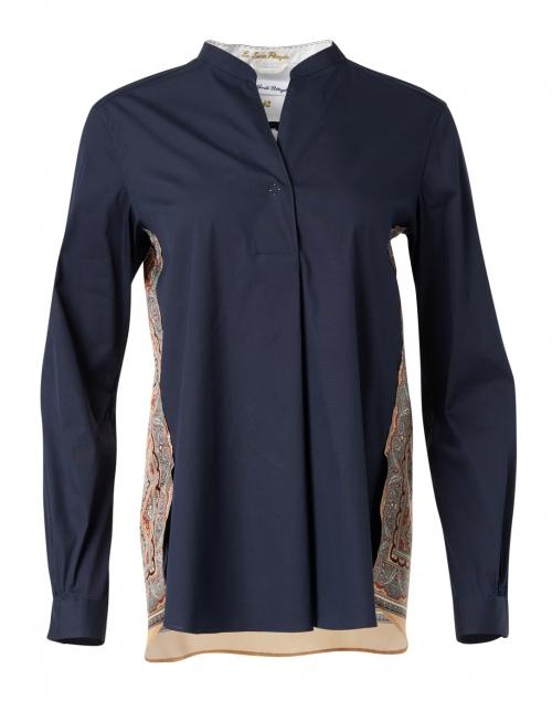 Le Sarte Pettegole - Navy Cotton Stretch Henley Shirt