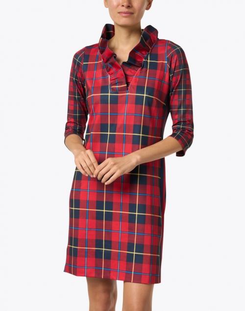 Gretchen Scott - Plaidly Red Plaid Ruffle Neck Dress