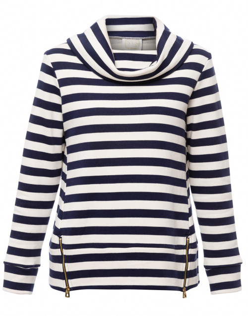 Sail to Sable - Navy and Ivory Striped Cotton Sweater