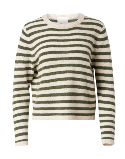 Allude White and Cedar Wool Cashmere Striped Sweater