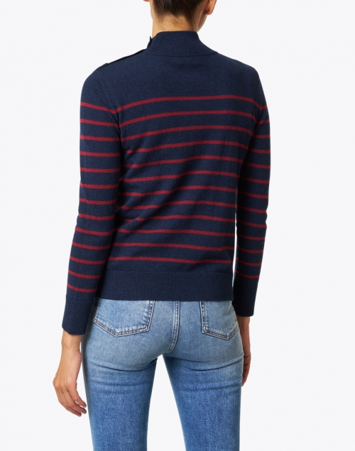 Kinross - Navy and Red Stripe Cashmere Sweater
