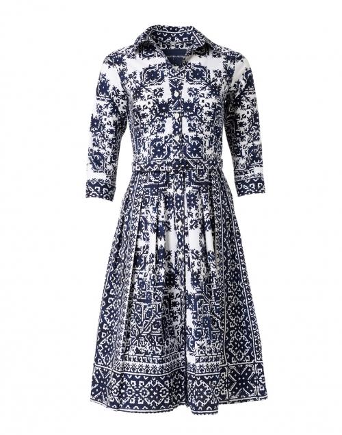 Samantha Sung - Audrey Indigo Mosaic Print Stretch Cotton Dress