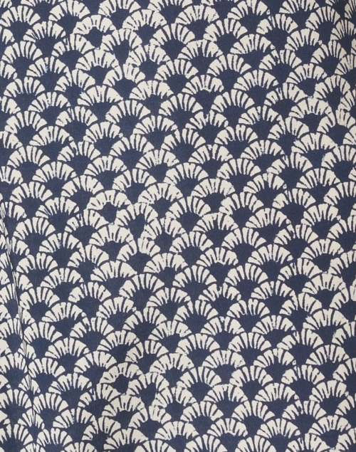 Weekend Max Mara - Felix Navy and White Print Silk Pant