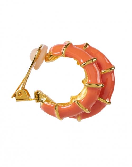 Kenneth Jay Lane - Coral Ribbed Enamel Hoop Clip Earring