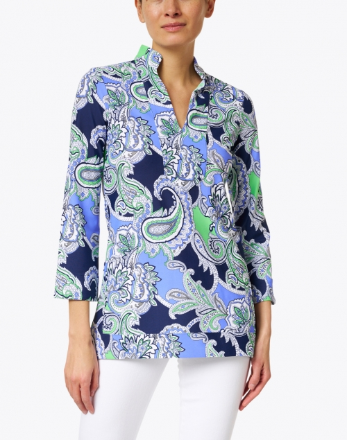 Jude Connally - Chris Periwinkle and Green Paisley Printed Nylon Top