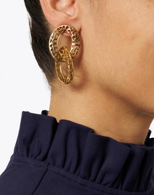 Jennifer Behr - Sambra Gold Double Drop Hoop Earring