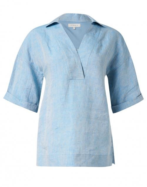 Lafayette 148 New York Pippen Blue Linen Blouse
