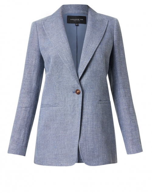 Lafayette 148 New York Hurley Blue Linen and Wool Blazer