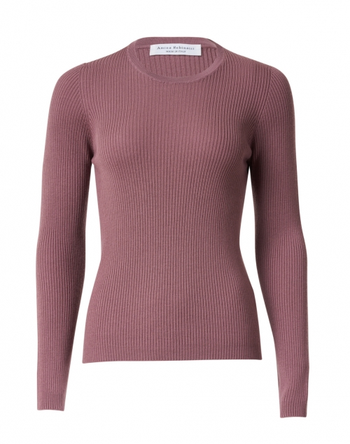 Amina Rubinacci - Bacco Muave Purple Ribbed Wool Sweater