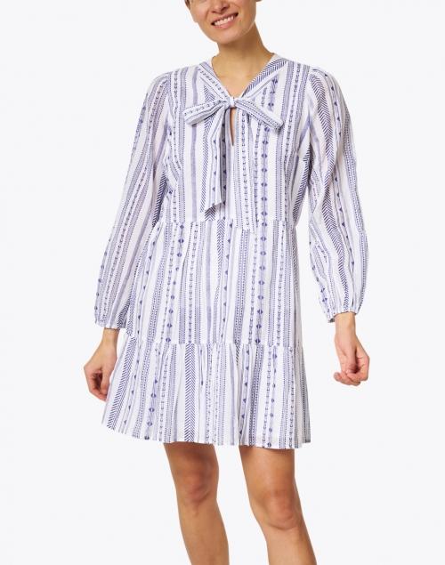 Sail to Sable - White and Navy Jacquard Stripe Cotton Dress