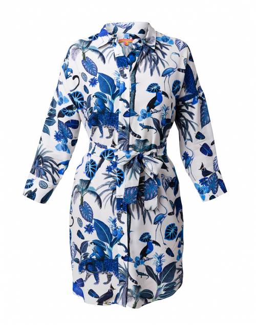 Vilagallo Emma Blue Safari Printed Shirt Dress