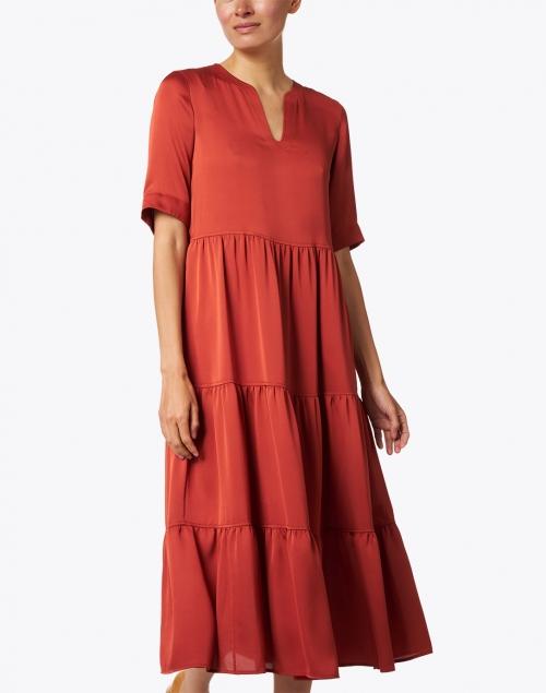 Lafayette 148 New York - Selma Chili Red Tiered Satin Dress