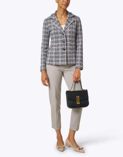 Amina Rubinacci - Forli Ivory and Navy Check Knit Wool Jacket