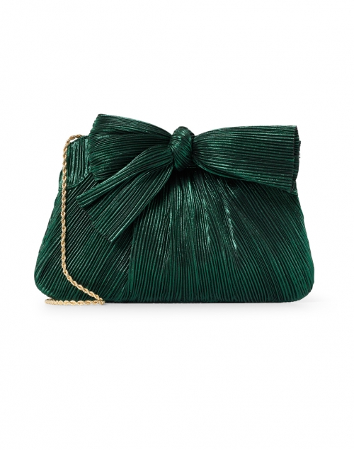 Loeffler Randall - Rayne Emerald Green Pleated Lame Bow Clutch
