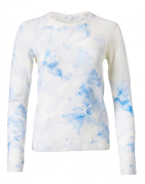 White + Warren - Blue Cloud Printed Cashmere Sweater
