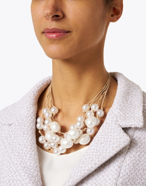Deborah Grivas - Pearl Cluster and Leather Necklace