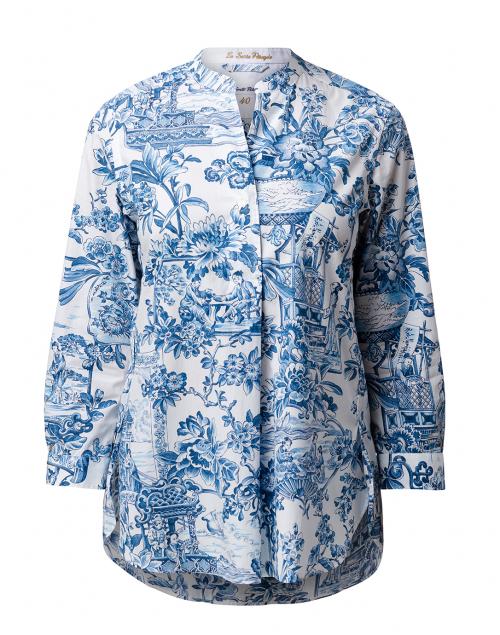 Le Sarte Pettegole White and Blue Floral Cotton Shirt