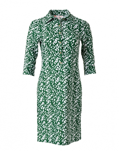 Jude Connally Susanna Green and White Dot Print Henley Dress