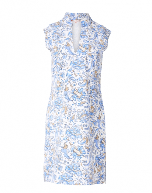 Jude Connally - Kristen White and Blue Batik Floral Print Dress