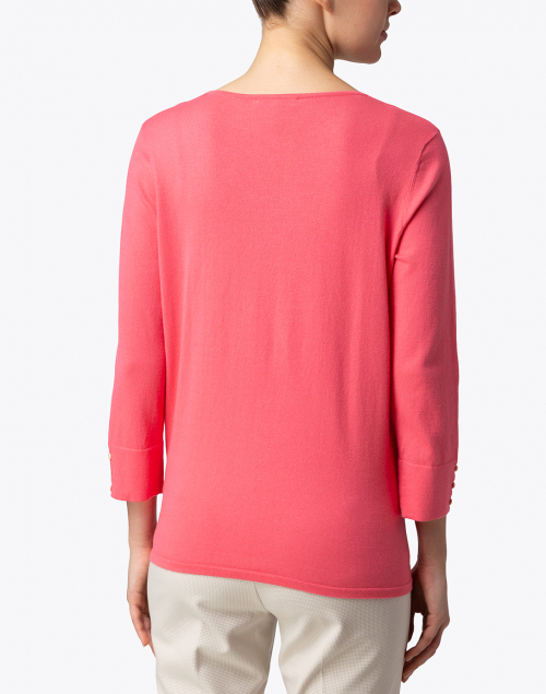 Belford -  Flamingo Pink Cotton Button Cuff Sweater