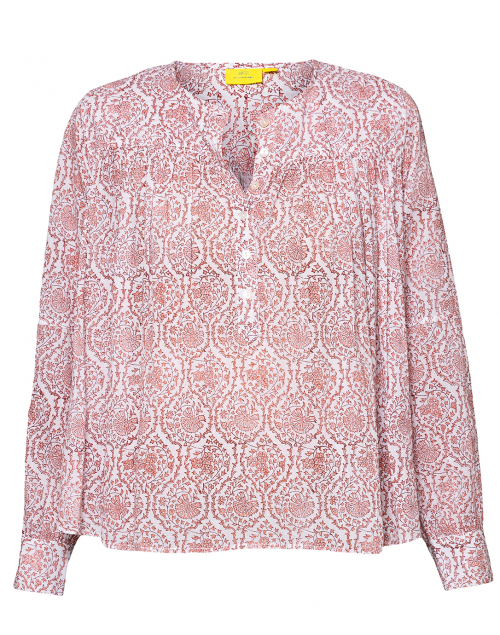 Roller Rabbit - Rakella White and Coral Ivy Blossom Printed Top