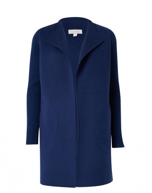 Kinross - Marine Blue Wool Cashmere Coat