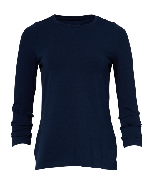E.L.I. - Navy Pima Cotton Ruched Sleeve Tee