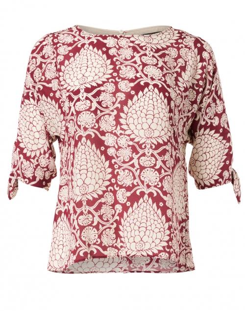 Weekend Max Mara - Adone Red and White Leaf Print Silk Top