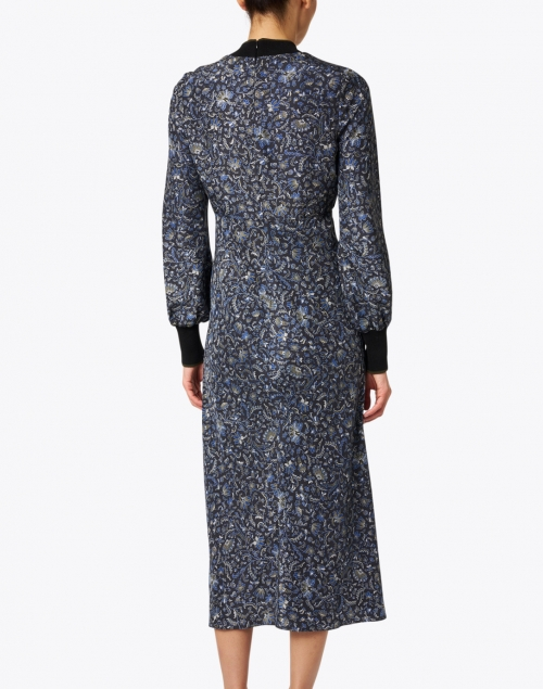 Veronica Beard - Reema Black and Blue Floral Silk Dress