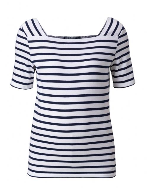 Saint James - Pleneuf White and Navy Striped Cotton Top
