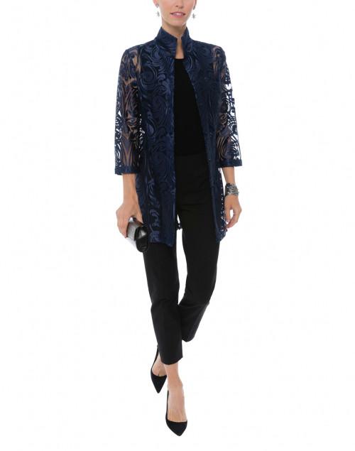 Connie Roberson - Rita Navy Deco Sheer Lace Top