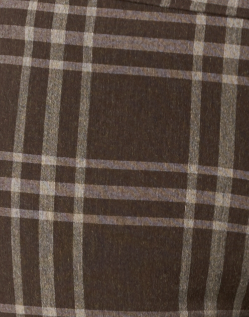 Avenue Montaigne - Pars Brown and White Plaid Stretch Pull-On Pant