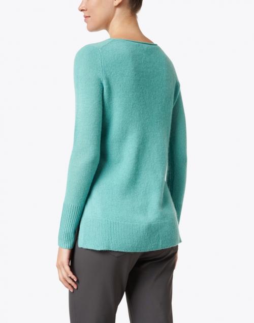 White + Warren - Emerald Cashmere Open Slit Sweater