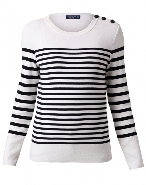 Saint James - Carros White and Navy Striped Cotton Sweater