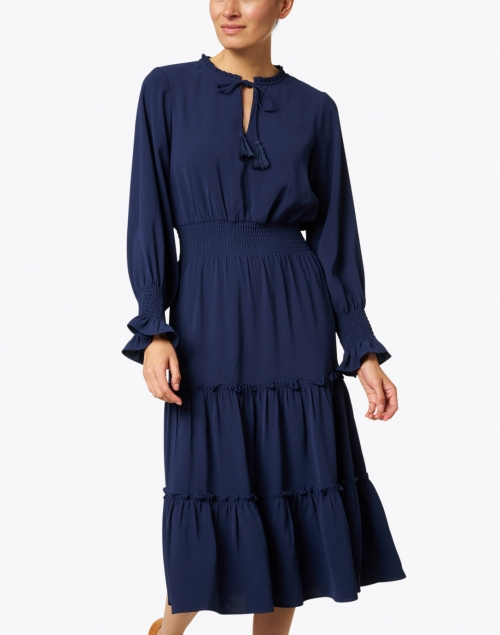 Sail to Sable - Navy Tiered Crepe Dress