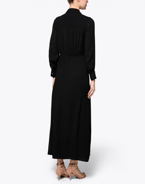 Brochu Walker - Madsen Black Crinkle Crepe Maxi Shirt Dress