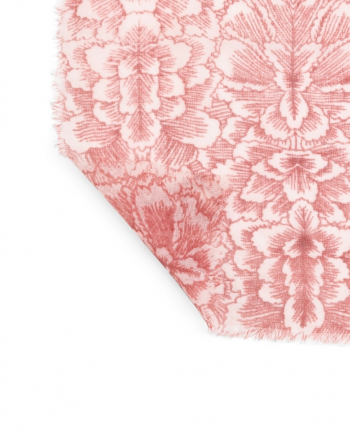 Amato - Red Floral Printed Wool Silk Scarf
