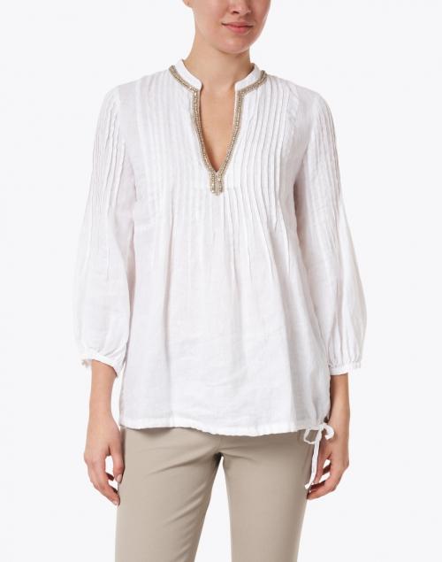 120% Lino - White Embellished Pintucked Linen Shirt