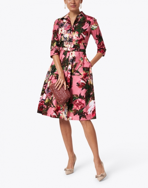 Samantha Sung - Audrey Dusty Rose Floral Stretch Cotton Dress