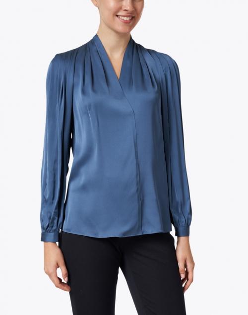 Kobi Halperin - Taya Steel Blue Stretch Silk Blouse