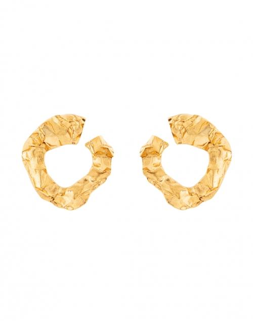 Oscar de la Renta Gold Crinkled Metal Hoop Earring