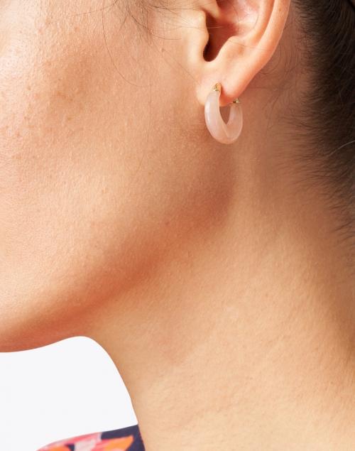 Loeffler Randall - Dorthea Light Blush Stone Hoop Earring