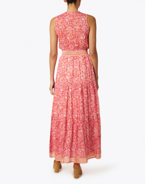 Bell - Emily Orange and Pink Floral Cotton Silk Dress