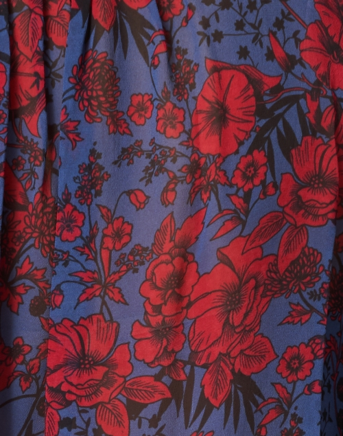 Shoshanna - Joelle Navy and Red Floral Print Top
