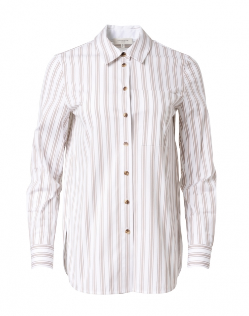 Lafayette 148 New York - Ruxton White and Taupe Stripe Stretch Cotton Shirt